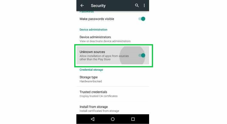 enabling unknown sources to install Media Lounge Apk on Android
